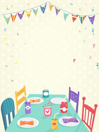 setting table: Illustration of a Kids Party Decorated with Colorful Banners