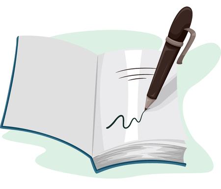 libro: Ilustración de una pluma de escribir en la página de un libro abierto Foto de archivo