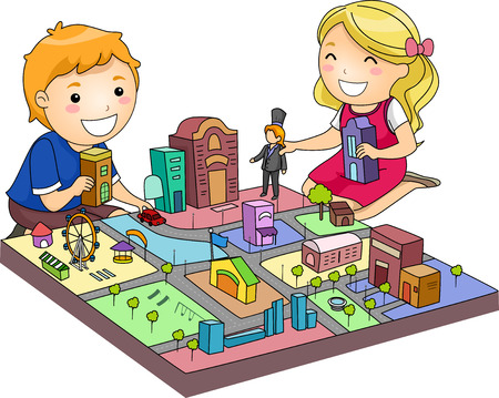 miniature: Illustration of a Pair of Cute Kids Playing with a Miniature City Stock Photo