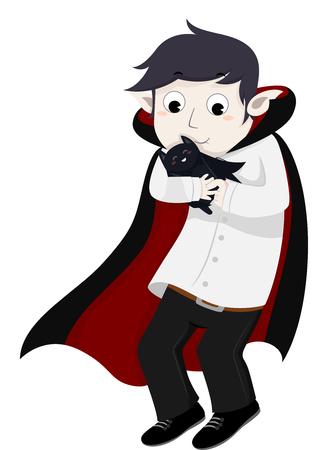 cuddling: Illustration of a Vampire Embracing His Pet Bat