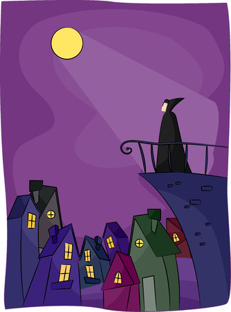over the edge: Illustration of a Vampire Standing Over the Edge of a Building