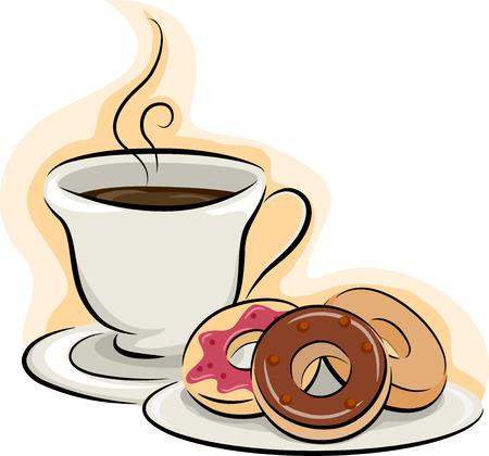 Illustratie van een kopje koffie zit naast een Plaat van Donuts Stockfoto