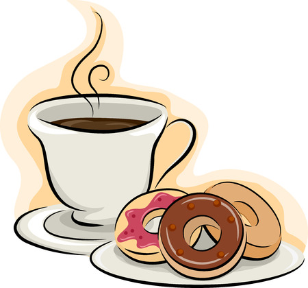Illustration of a Cup of Coffee Sitting Beside a Plate of Donuts Banco de Imagens