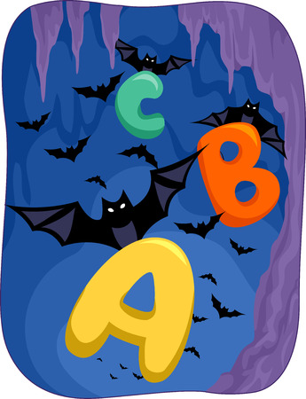 grade schooler: Illustration Featuring Bats Carrying Letters of the Alphabet