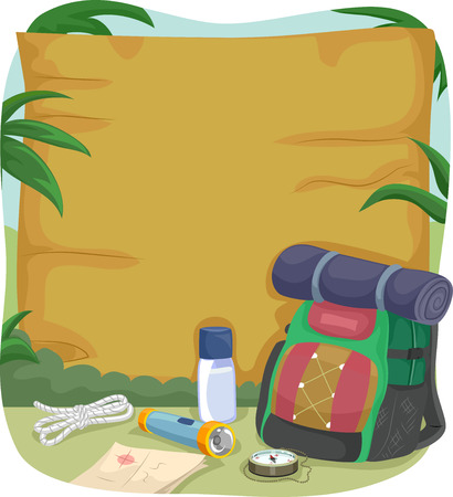 beside: Illustration of a Blank Wooden Sign with Camping Gear Sitting Beside It
