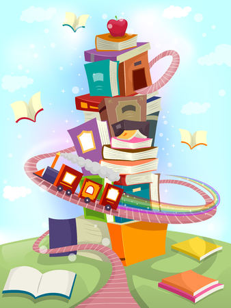 circling: Whimsical Illustration of a Toy Train Circling Around a Tower of Books - eps10