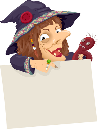 voodoo doll: Illustration of a Witch Holding a Voodoo Doll Pointing to a Board