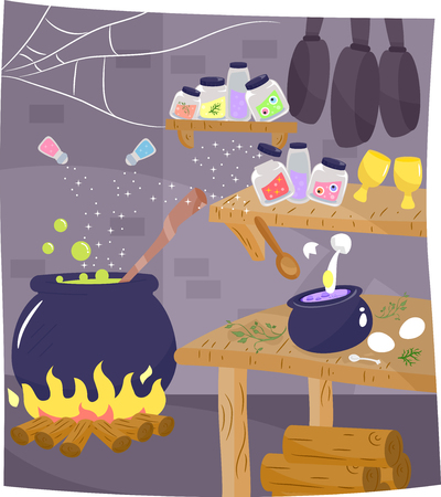 pantry: Illustration of the Kitchen of a Witch with a Potion Brewing in the Corner