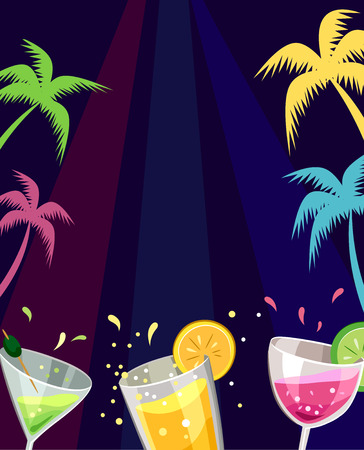 beach party: Illustration of Colorful Tropical Drinks at a Beach Party