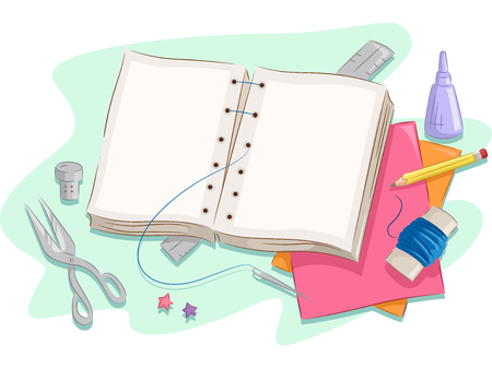 Illustration of the Pages of a Book Being Stitched Together Stock Photo