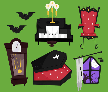 commonly: Grouped Illustration of Things Commonly Associated with Vampires