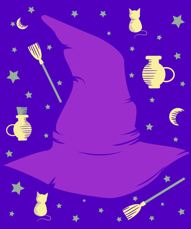 witchcraft: Illustration of a Purple Witch Hat Surrounded by Witchcraft Related Items