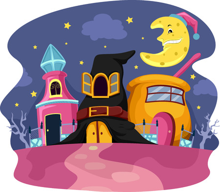 magic potion: Whimsical Illustration of Houses Designed Like Witchcraft Related Items Stock Photo