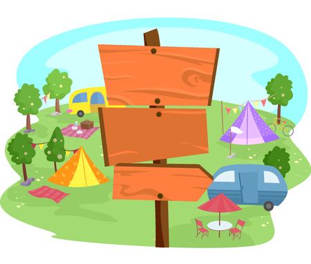 sites: Illustration of Wooden Signs Inside a Camp Site Stock Photo