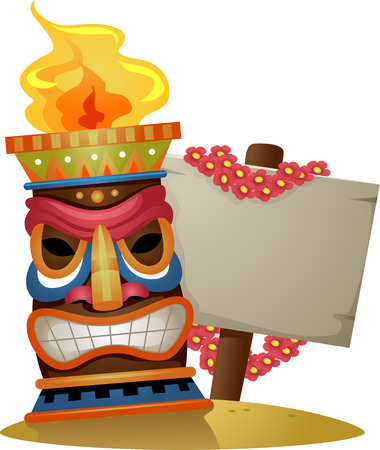 beside: Illustration of a Tiki Torch Standing Beside a Blank Board Stock Photo