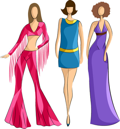 retro woman: Illustration of Woman Sporting Popular Fashion Styles in the 70s Stock Photo