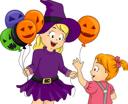 themed: Illustration of a Little Girl Handing Out Halloween Themed Balloons Stock Photo