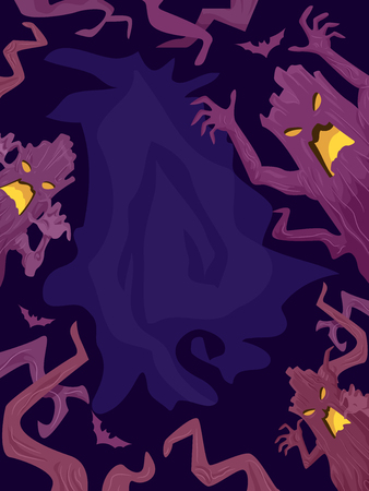 scare: Halloween Illustration of Tree Figures Trying to Scare People Away
