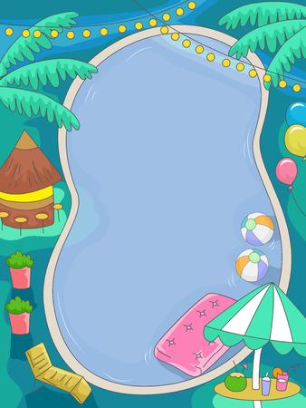 熱帯をテーマにしたプール誕生日のイラスト