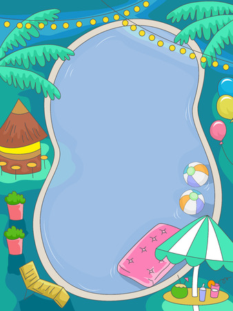 열대 테마와 생일 수영장 파티의 그림