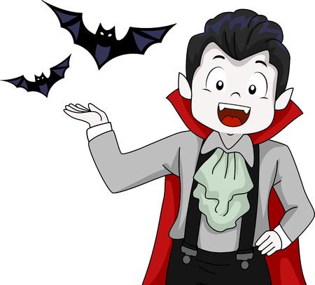 familiar: Illustration of a Little Vampire Presenting His Familiar Spirits