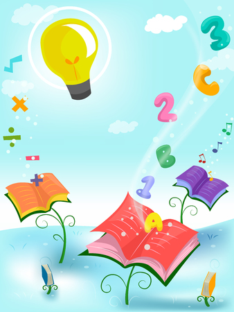 knowledge clipart: Whimsical Illustration of Books Surrounded by Letters and Numbers  Stock Photo