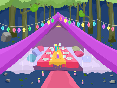 outdoor dining: Illustration Featuring a Glamping Site Decorated with Fancy Lights