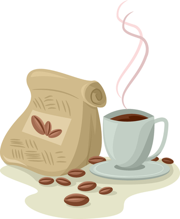 beside: Illustration of a Cup of Brewed Coffee Sitting Beside a Bag of Coffee Beans Stock Photo