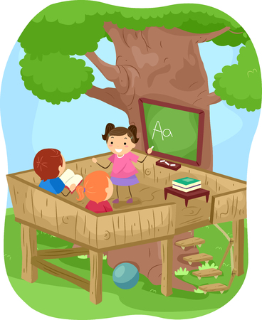 man illustration: Stickman Illustration of Kids Learning the Alphabet Outdoors Stock Photo