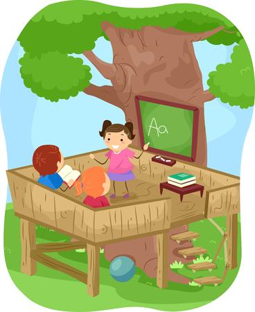 stickman: Stickman Illustration of Kids Learning the Alphabet Outdoors Stock Photo