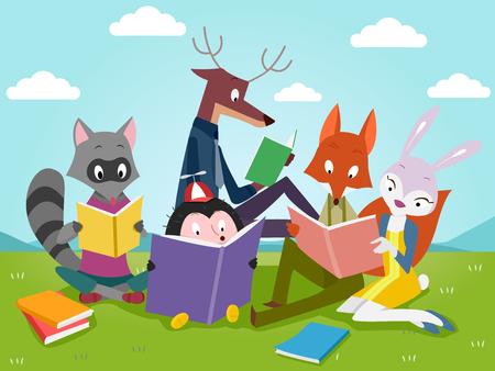 Illustration of Cute Animals Reading Books Outdoors Archivio Fotografico