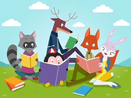 Illustration of Cute Animals Reading Books Outdoors Stock Photo