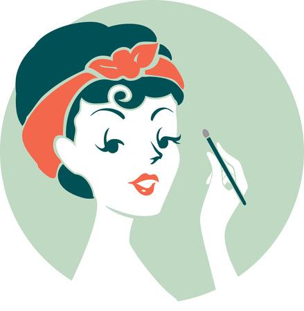 applying: Illustration of a Pinup Girl Applying Eyeshadow on Her Eyes Stock Photo
