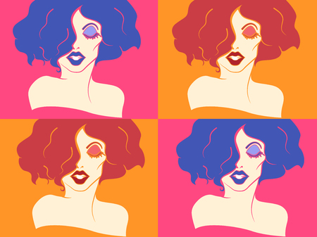 drag: Stencil Illustration of a Drag Queen with Backgrounds of Different Colors Stock Photo