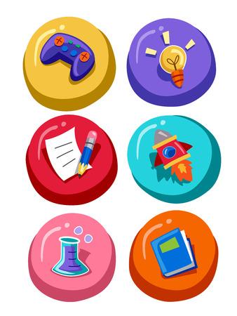 grouped: Grouped Illustration of Education Related Icons Stock Photo