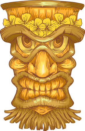 hawaiian tiki: Illustration of a Golden Wooden Statue with Tiki Carvings