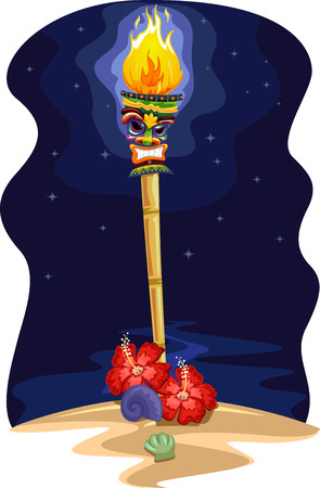 sea scene: Night Scene Illustration of a Tropical Island with a Tiki Torch on the Shore Stock Photo