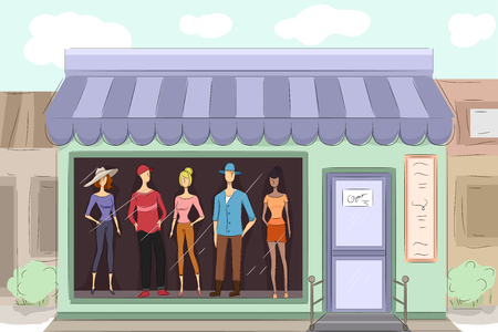 display window: Illustration of a Boutique Displaying the Clothes They Sell Stock Photo