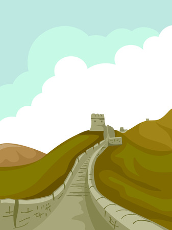 great wall of china: Illustration of a Pathway at the Great Wall of China Leading to a Tower