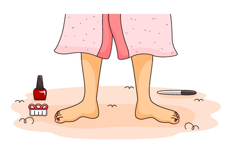 clip art feet: Illustration of a Woman About to Get a Pedicure at a Spa