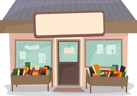 book store: Illustration of a Book Store with a Blank Sign Above Stock Photo