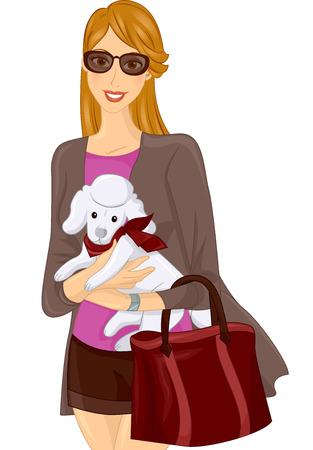 carrying: Illustration of a Girl Carrying a Poodle in Her Arms Stock Photo