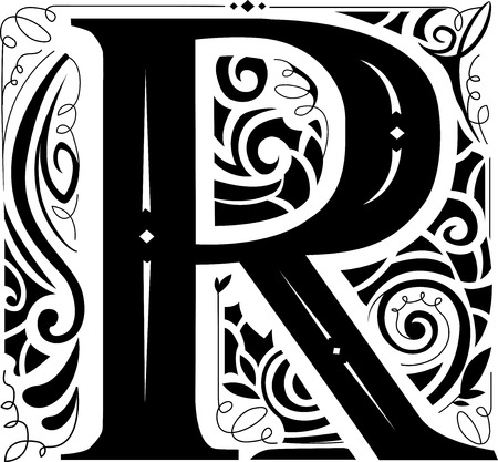 featuring: Illustration of a Vintage Monogram Featuring the Letter R