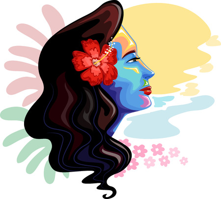 woman art: Colorful Illustration of a Girl Inspired by Hawaiian Symbols