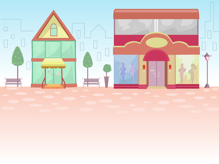 fronts: Illustration of Store Fronts with the Outline of a Cityscape for its Background