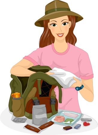 travel woman: Illustration of a Female Traveler Packing Hiking Essentials