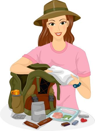 girl illustration: Illustration of a Female Traveler Packing Hiking Essentials