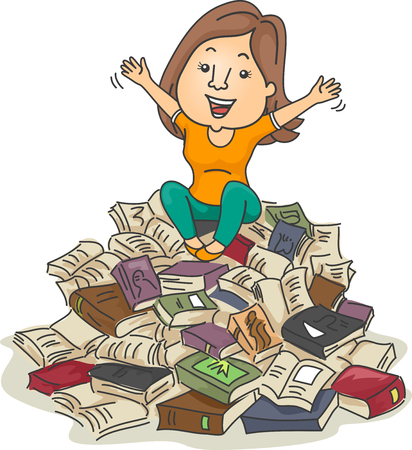 lovers: Illustration of a Bookworm Sitting on a Pile of Books Stock Photo