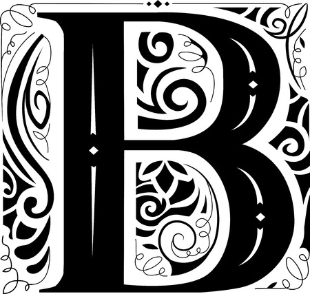 b: Illustration of a Vintage Monogram Featuring the Letter B
