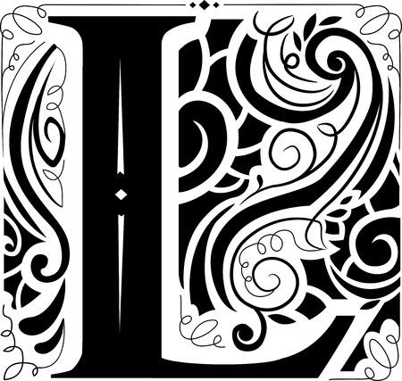 Illustration d'un monogramme Vintage comportant la lettre L Banque d'images